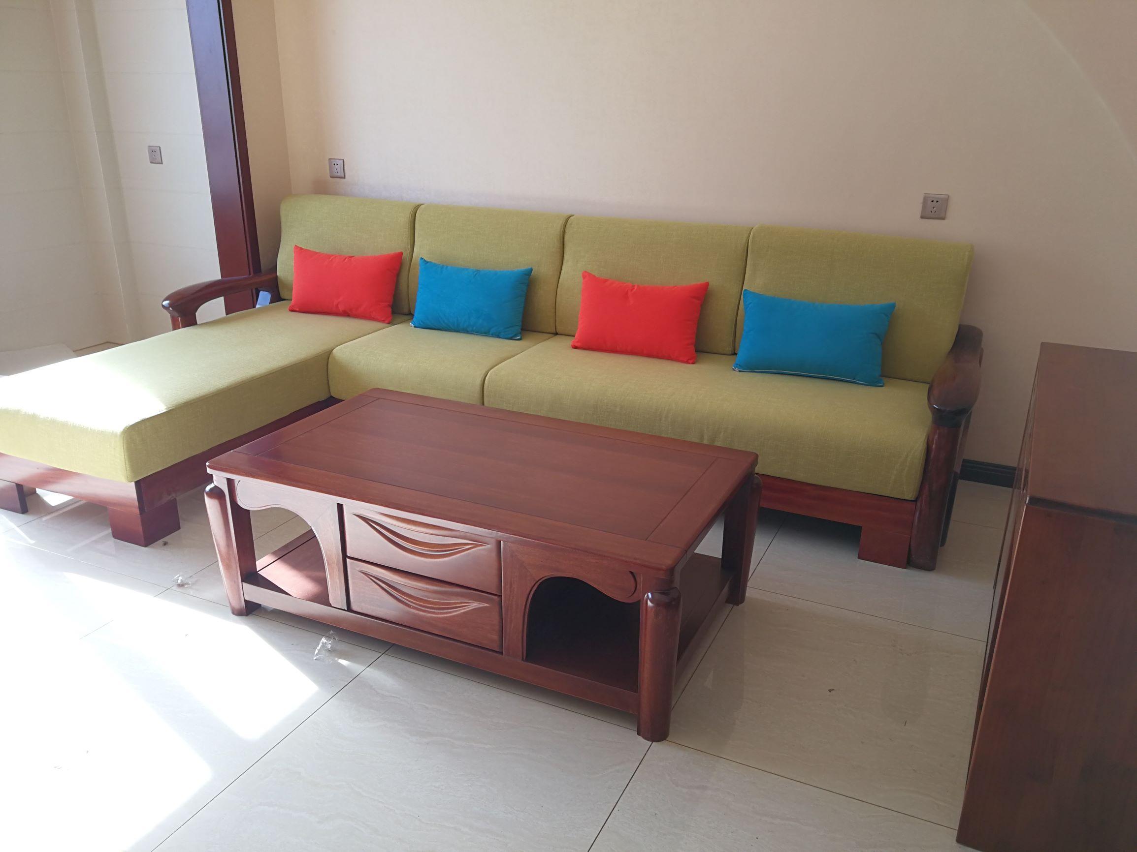 3.5米金丝檀木沙发 实木沙发