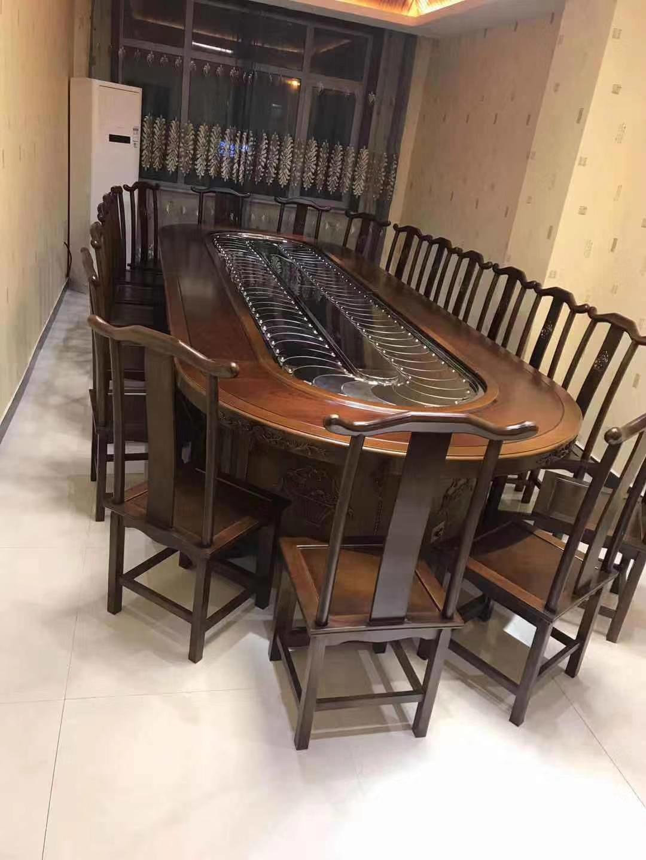4.2米椭圆圆桌自动传菜 实木圆桌