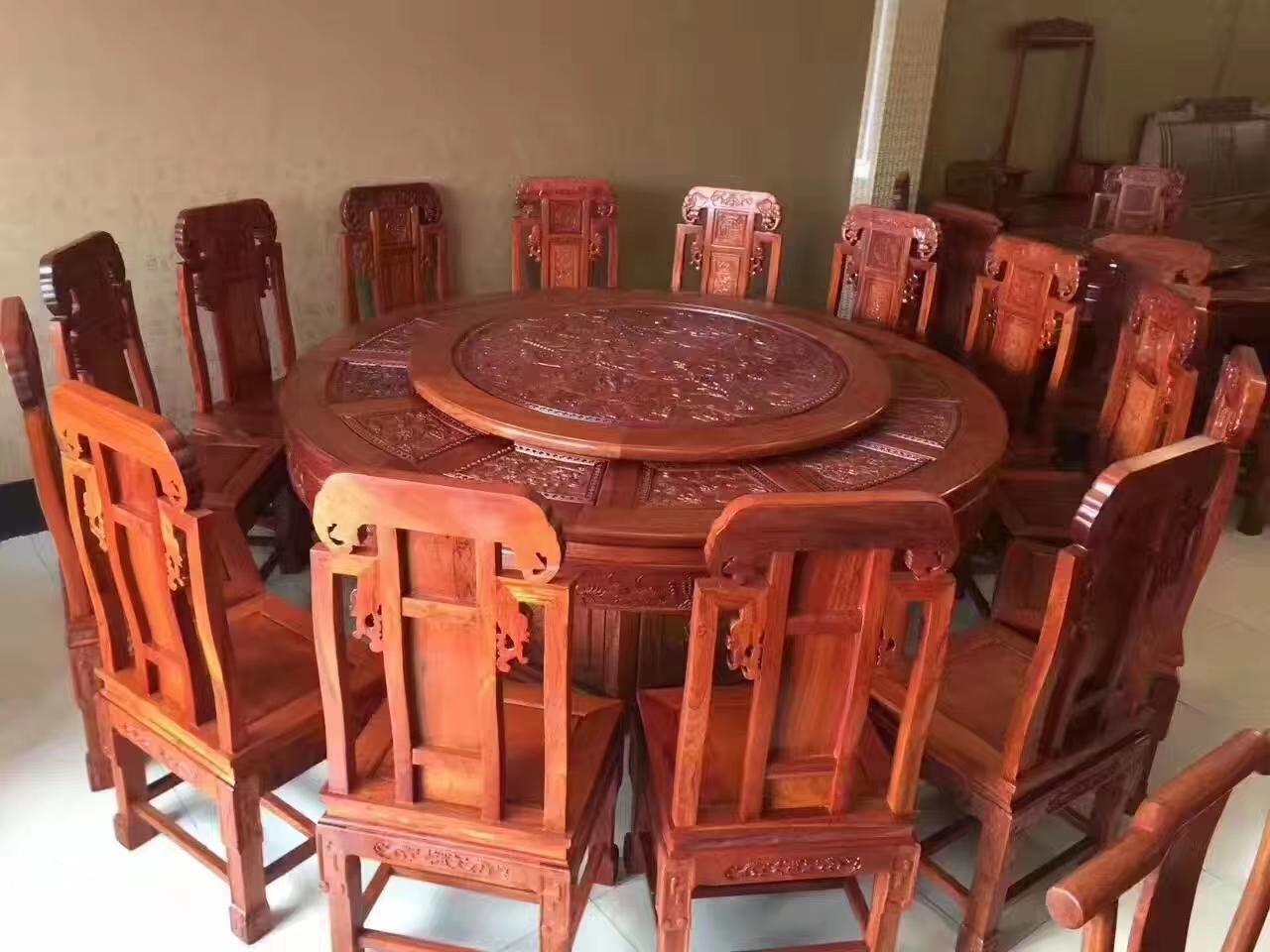 1.8米花梨木圆桌 红木圆桌 会所专用