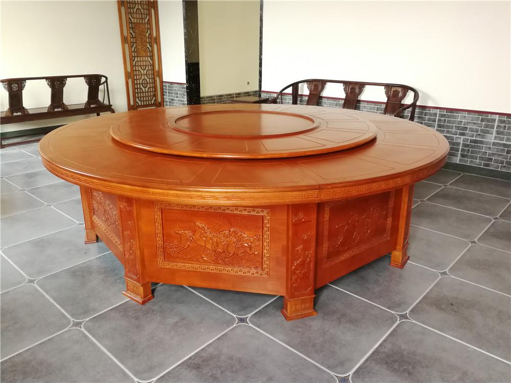 3.2米橡木电动圆桌 实木电动圆桌 酒店圆桌