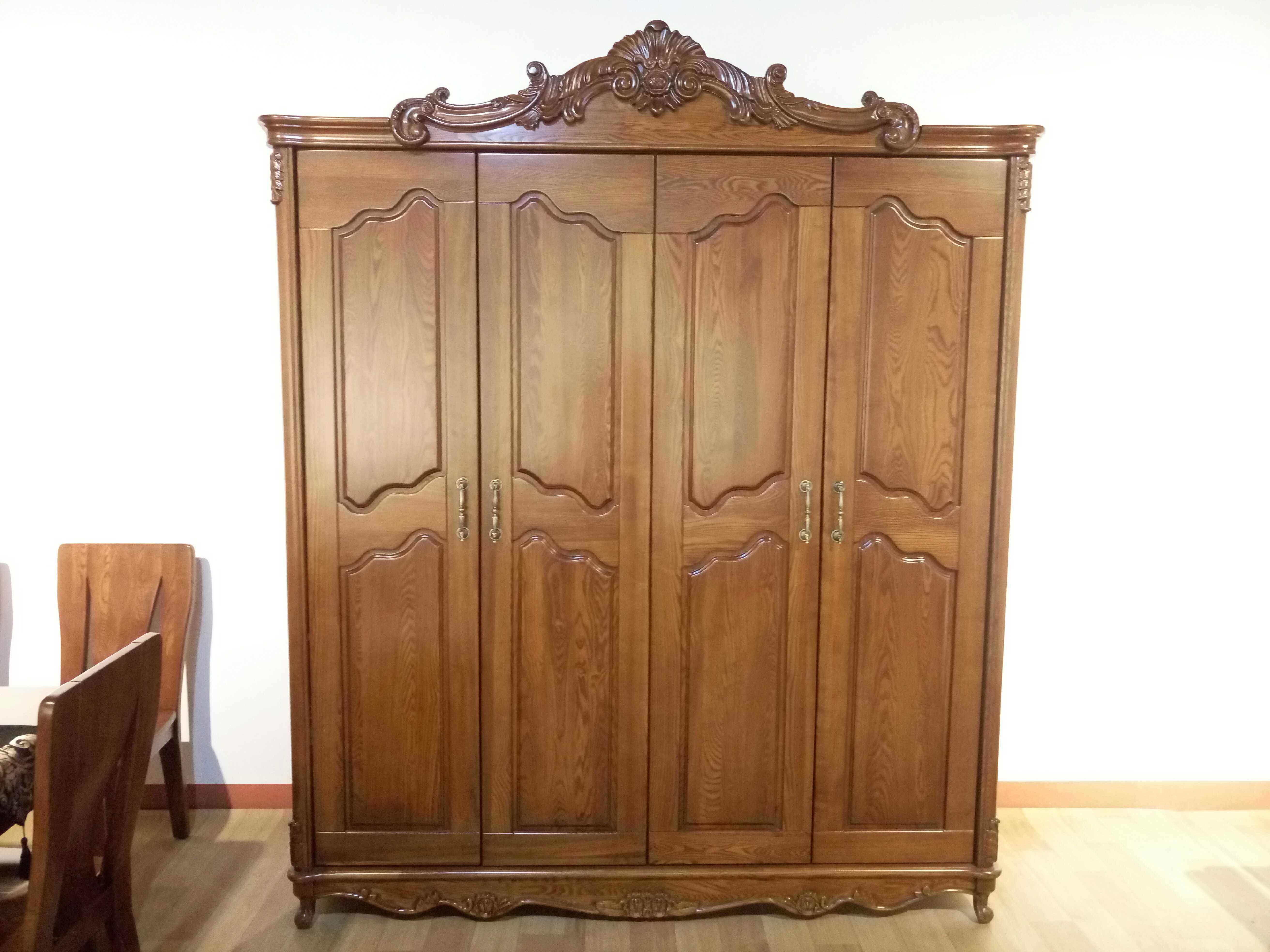 2米欧式衣柜 红橡木衣柜 实木衣柜