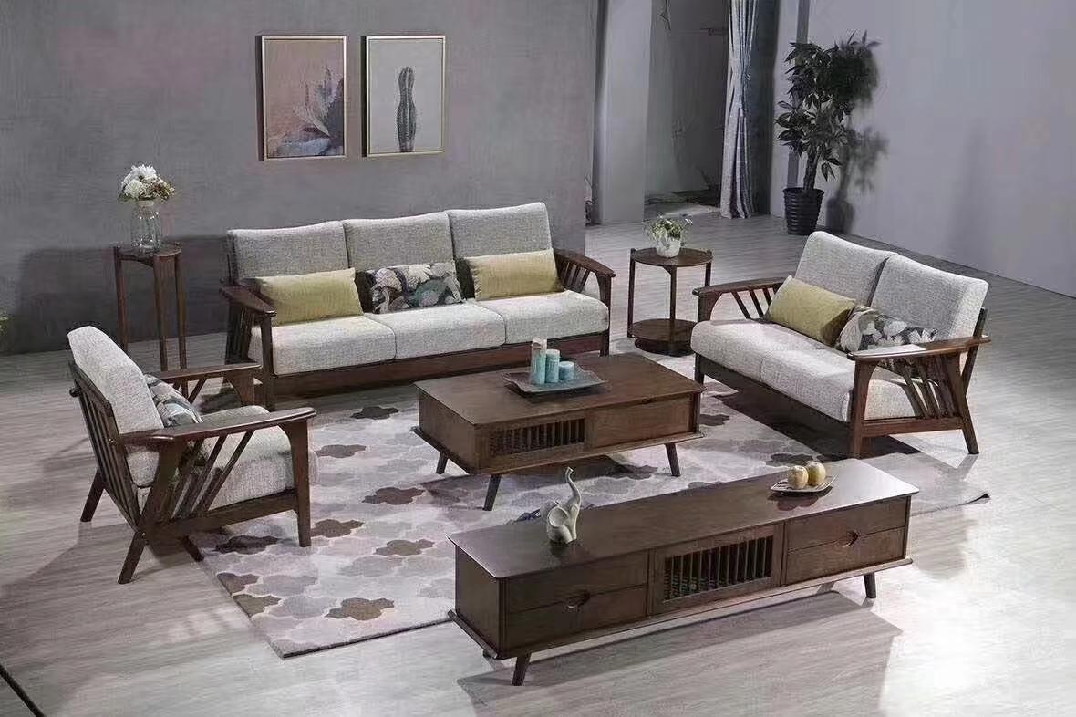 简约客厅沙发 北欧风格实木沙发