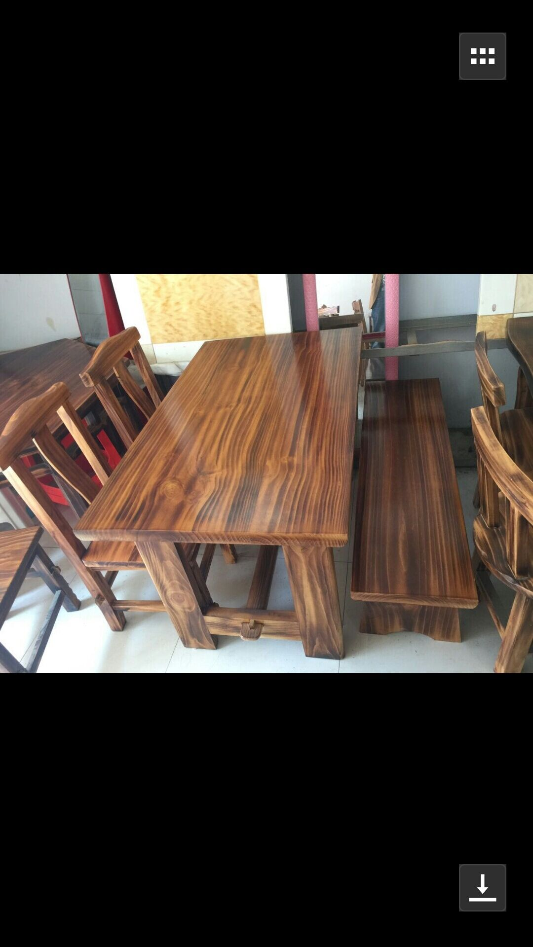 1.2米火烧木餐桌 实木餐桌