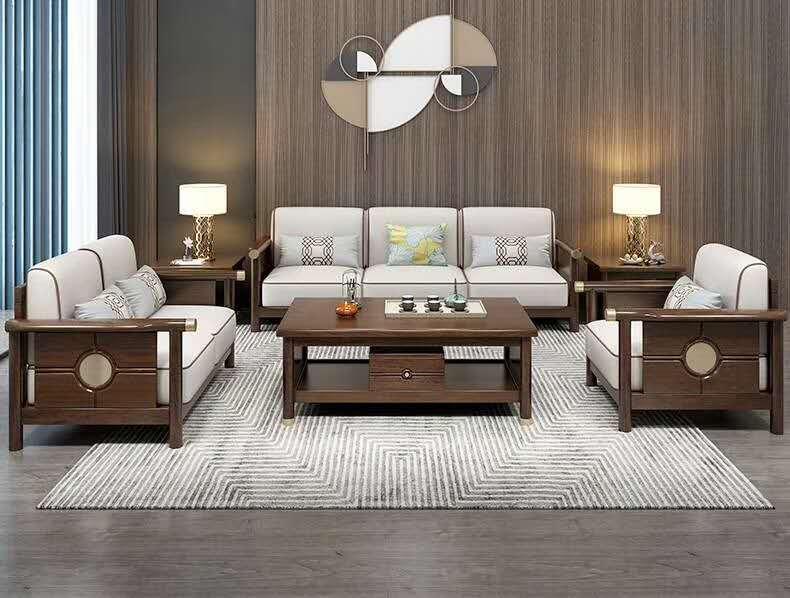 黄檀木新中式软包床