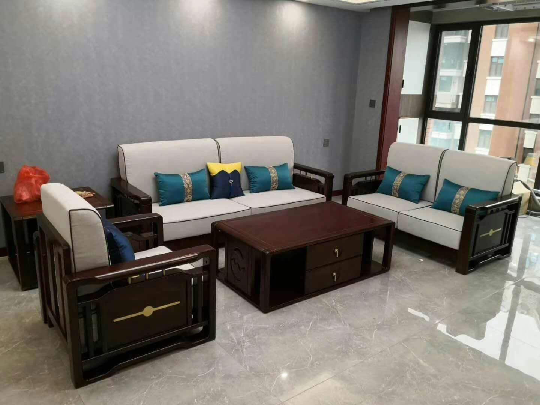 胡桃木新中式沙发